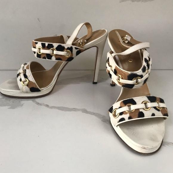 Animal Print White Leather Heels Size